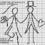 grille gratuite point de croix coussin mariage
