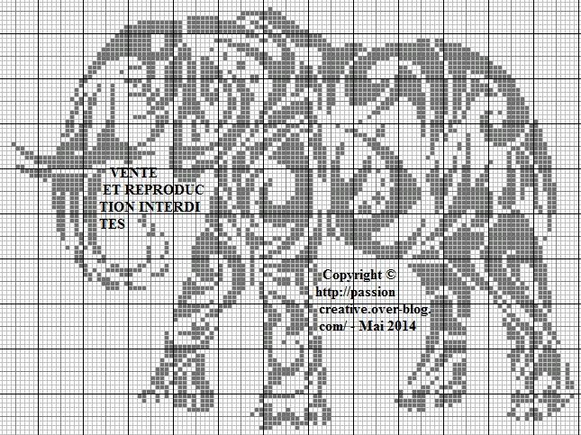 Grille gratuite point de croix elephant 1 - Points de croix comptes grilles gratuites ...