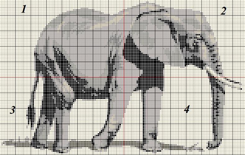 Grille gratuite point de croix elephant 16 - Point de croix grille gratuite a imprimer ...