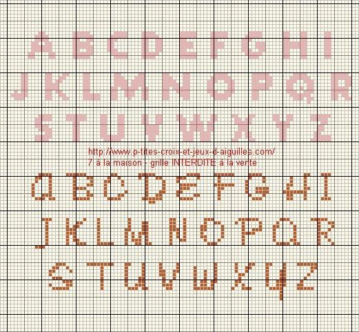 grille lettre m point de croix
