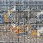 grille point de croix paysage