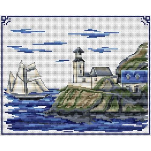 Grille point de croix paysage 6 - Grille point de croix mer ...
