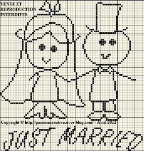 point de croix grilles gratuites a imprimer mariage #15