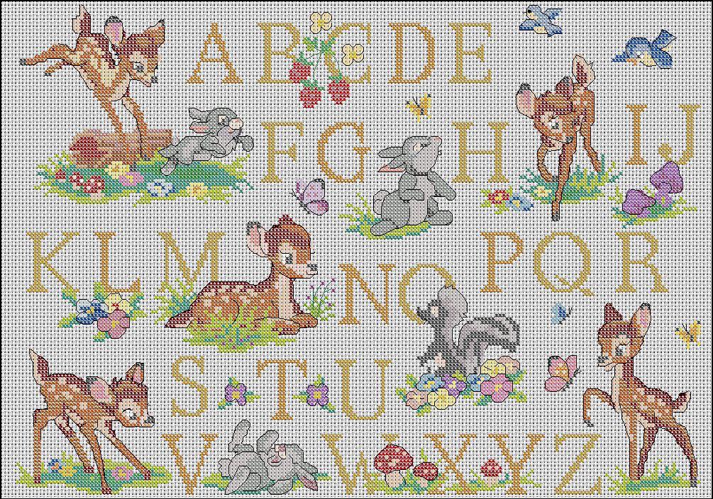 grille point de croix bambi gratuit #1