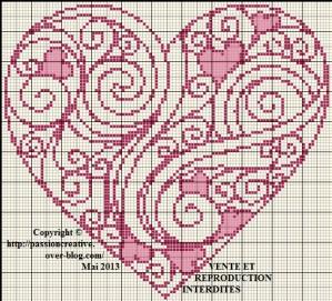 grille point de croix gratuite coeur #3