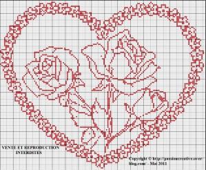 grille point de croix gratuite coeur #5