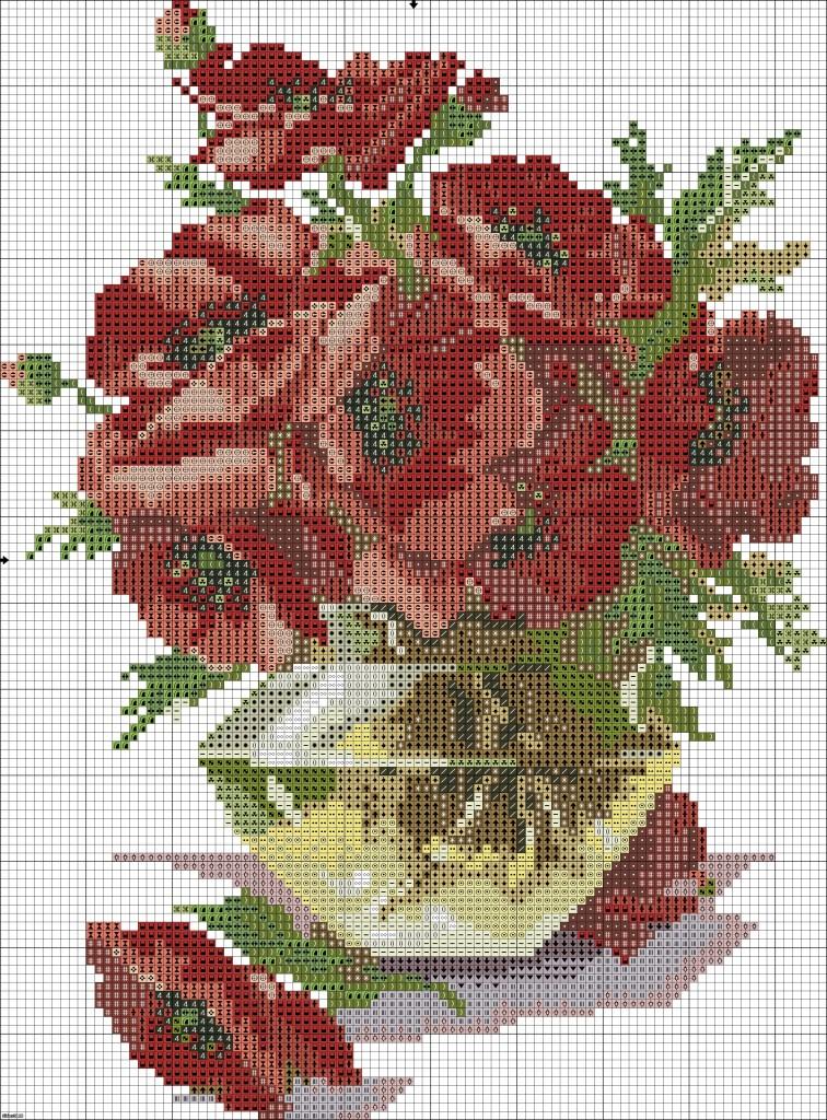 grille point de croix gratuite fleurs #3