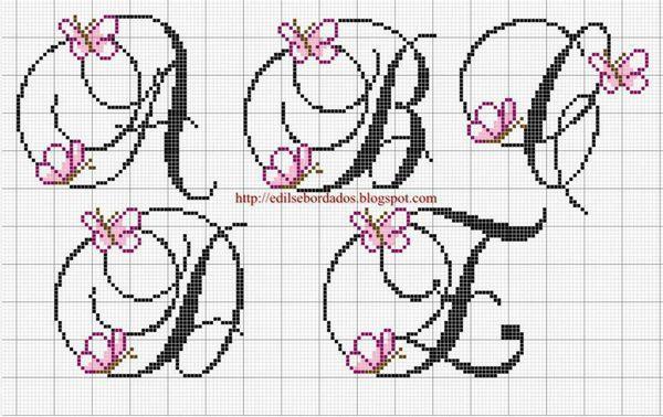 Grille point de croix alphabet disney 12 - Grille point de croix lettre ...