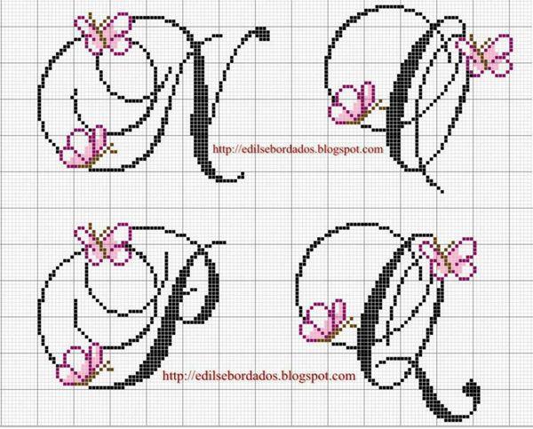 Grille point de croix alphabet disney 14 - Grille point de croix alphabet disney ...