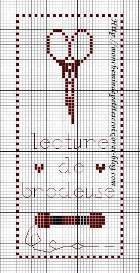 grille point de croix gratuite marque page #10