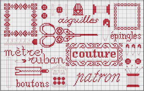 Grille point de croix theme couture 8 - Point de croix grilles gratuites a imprimer ...