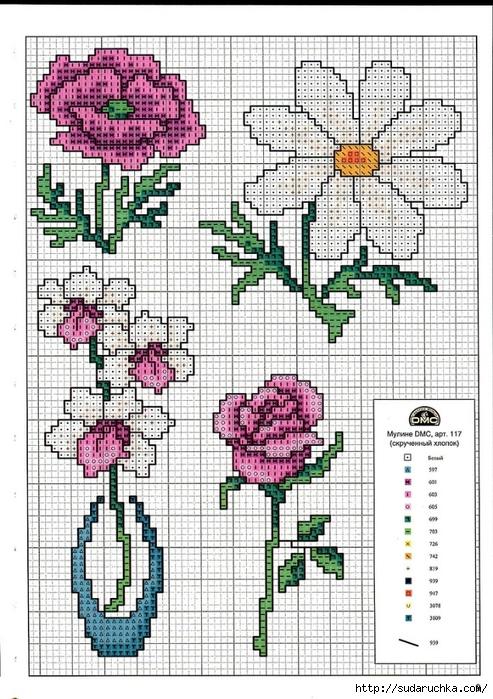 modèle point de croix gratuit fleurs #6