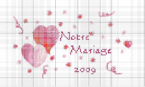modèle point de croix gratuit mariage