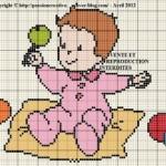 modèle point de croix naissance fille gratuit