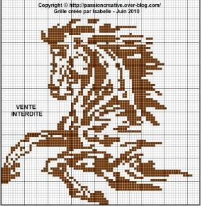 grille point de croix a imprimer cheval #3