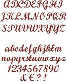 Grille point de croix lettres cursives 8 - Grille point de croix lettre ...