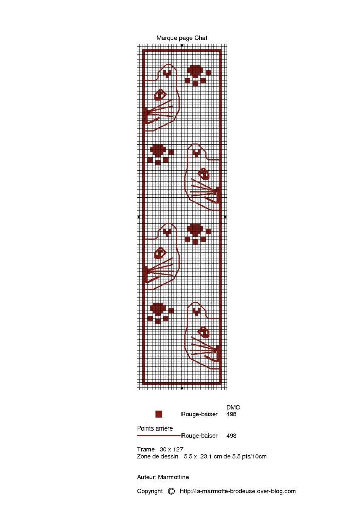 Grille point de croix marque page gratuit 16 - Marque page point de croix grille gratuite ...