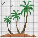 grille point de croix palmier