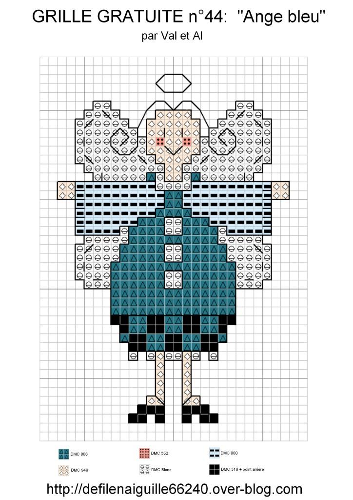 grille point de croix ailes ange #15