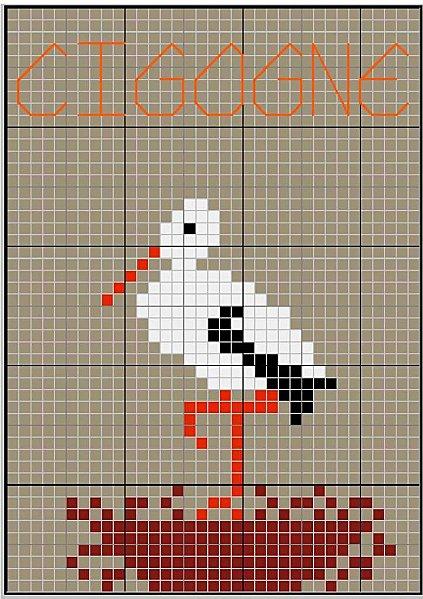 grille point de croix cigogne  17