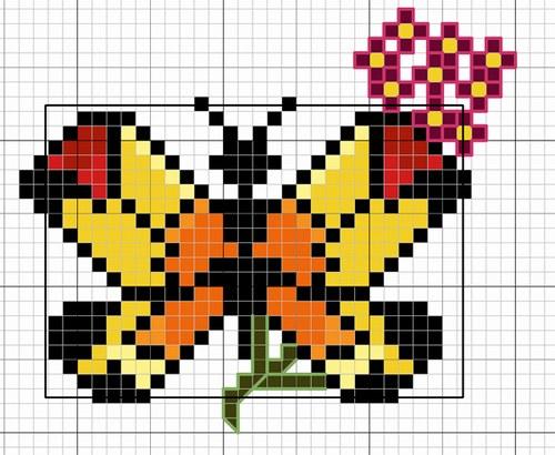 Grille point de croix papillon gratuite 12 - Grilles gratuites point de croix dmc ...