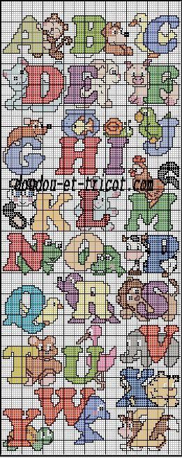 grille point de croix abecedaire disney #13