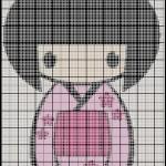 grille point de croix kokeshi