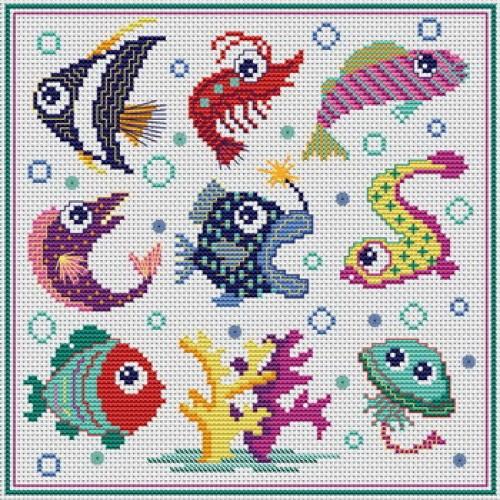 grille point de croix poisson #1