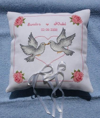 Motif point de croix pour coussin alliance mariage 1 - Grille gratuite point de croix coussin de mariage ...