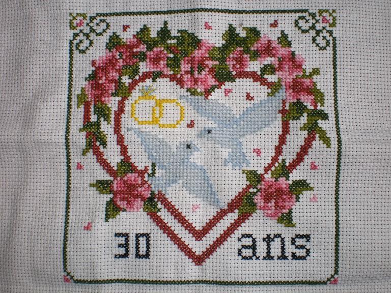 motif point de croix pour coussin alliance mariage #14