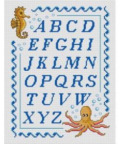 Mod le point de croix lettre 4 - Grille abecedaire point de croix ...