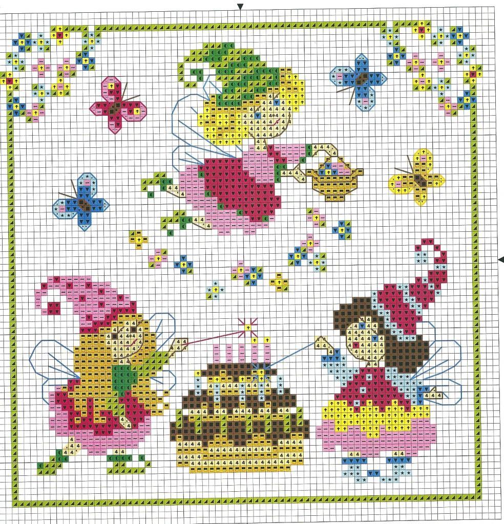 Grille point de croix petite fille 12 - Grille gratuite point de croix naissance ...