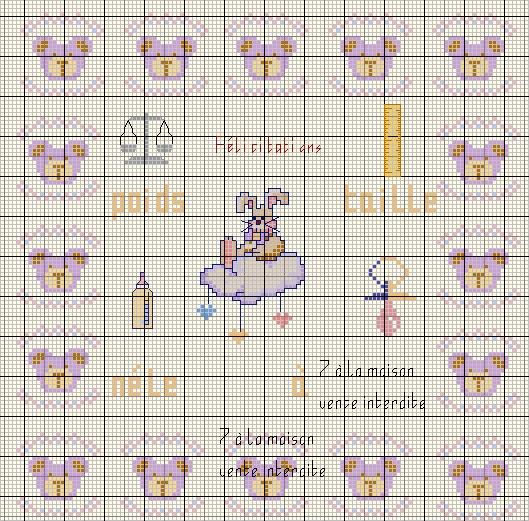 grille point de croix bebe fille #9