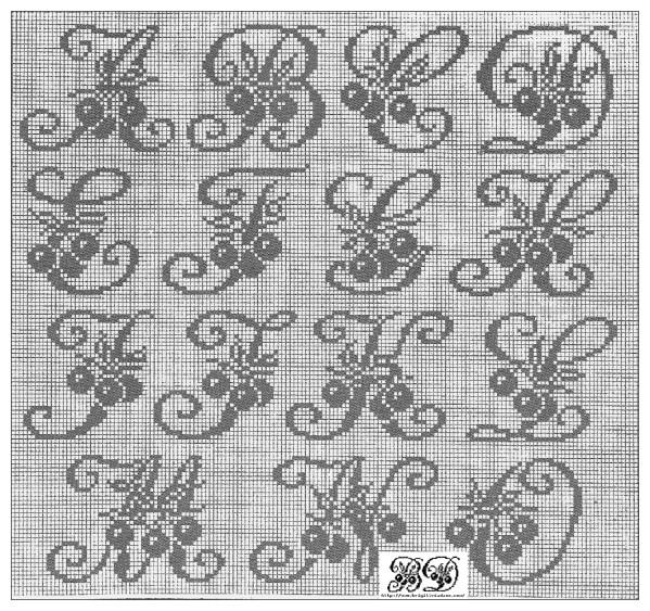modèle broderie point de croix alphabet #16