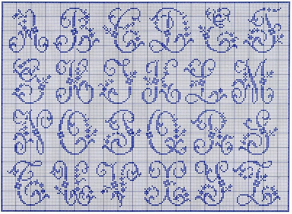 Mod le broderie point de croix alphabet 4 - Grille abecedaire point de croix gratuit ...