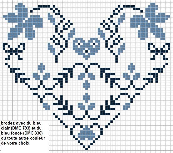 modèle point de croix coeur #11