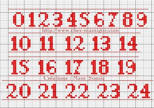 point-de-croix-chiffre-10.jpg (499×351) | Alphabet point de croix, Point de croix mariage