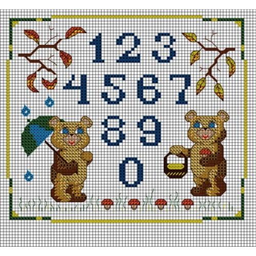 Схема вышивки чисел крестиком 25