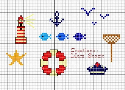Grille point de croix etoile de mer 5 - Grille point de croix mer ...