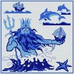 grille point de croix etoile de mer