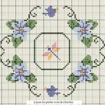motif point de croix fleurs