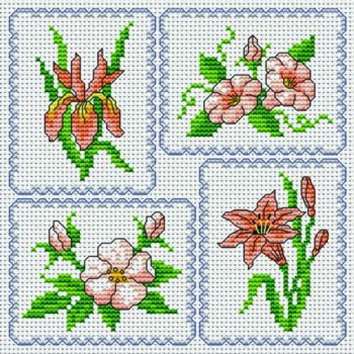 Motif point de croix fleurs 13 - Broderie point de croix grilles gratuites fleurs ...