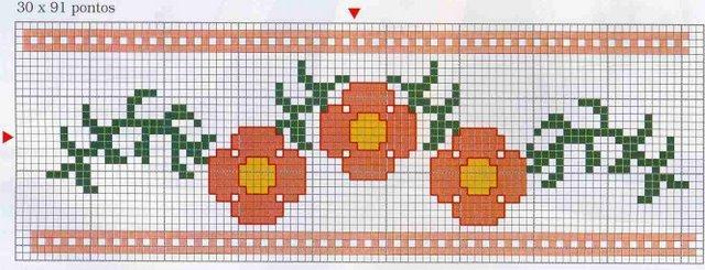Motif point de croix fleurs 9 - Broderie point de croix grilles gratuites fleurs ...