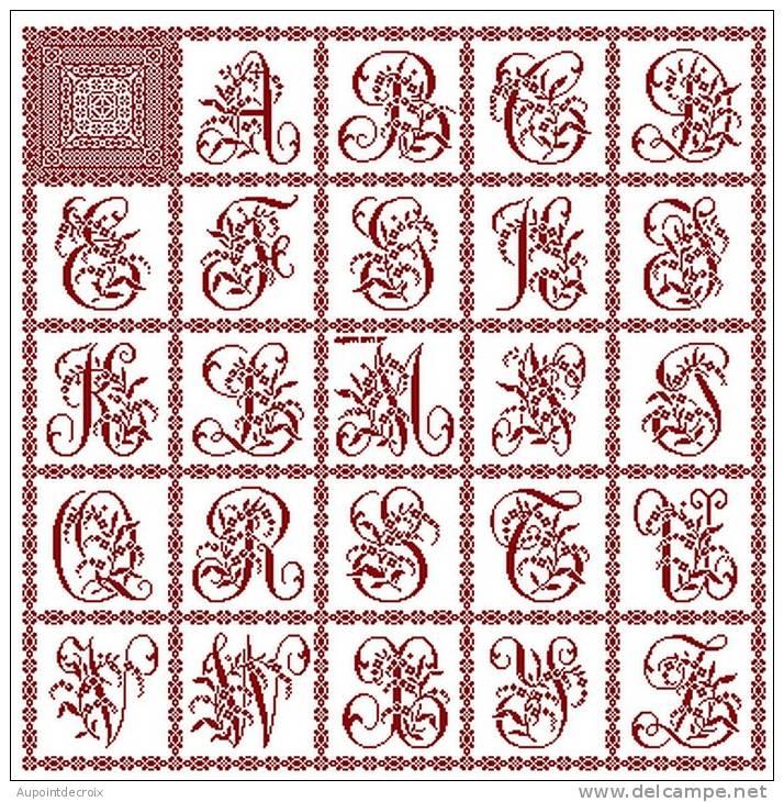 Grille abecedaire point de croix 14 - Apprendre a broder des lettres ...