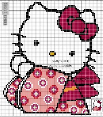 motif point de croix hello kitty