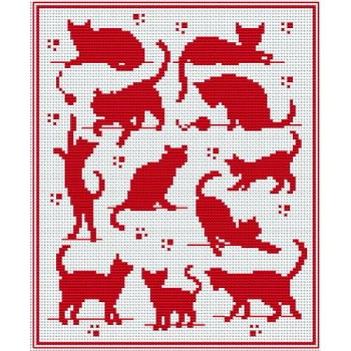 Grille gratuite point de croix chat noir - Grille point de croix pinterest ...