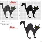 point de croix chat noir
