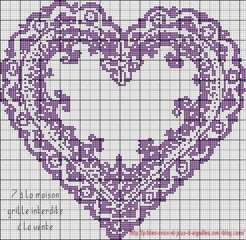 grille point de croix coeur gratuite #7