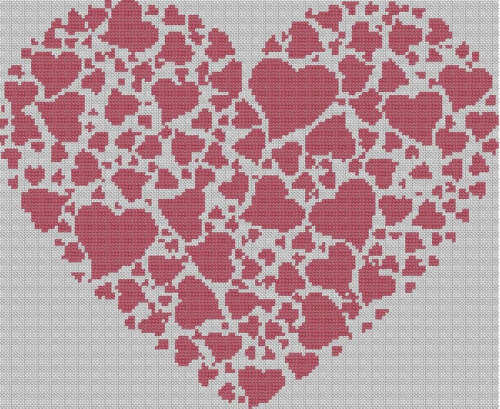 Grille point de croix coeur gratuite 9 - Grille point de croix gratuite coeur ...