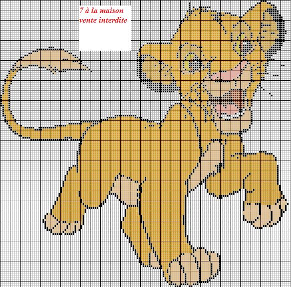 modèle point de croix roi lion